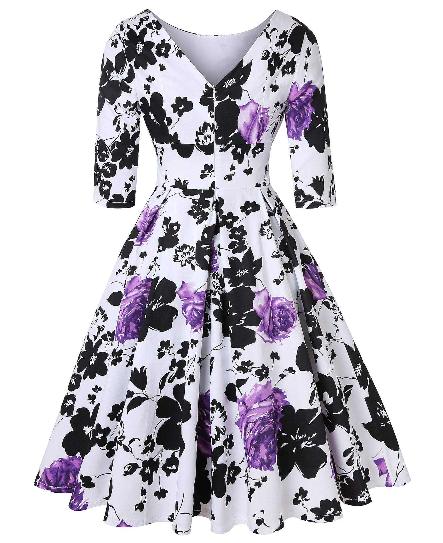 ROOSEY Women's 50s Style Swing Dress Vintage Retro Cocktail Evening Formal Dress by ROOSEY (Image #3)