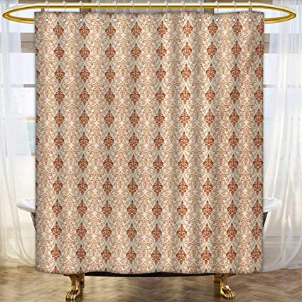 Lacencn AntiqueShower Curtains FabricBotanical Nature Pattern With Vintage Byzantine Floral Design Elements