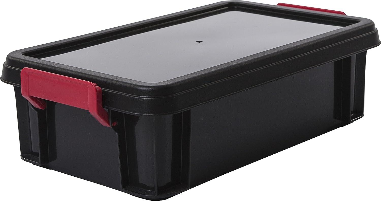 de 2 l Iris Ohyama pl/ástico Multi Box negro // rojo // transparente MBX-2 lote 4 cajas apilables de almacenamiento con tapa 22,4 x 17 x 14,5 cm