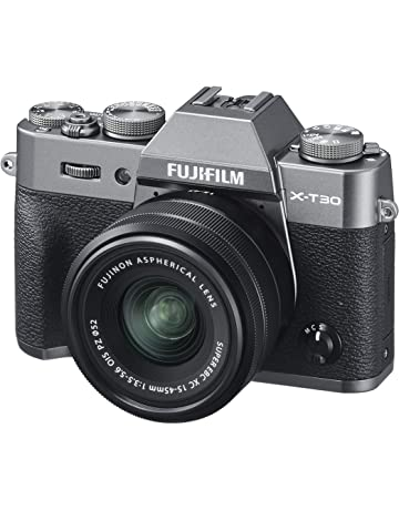 Fujifilm X-T30 Mirrorless Digital Camera, Charcoal Silver with Fujinon XC15-45mm Optical Image Stabilisation Power Zoom Lens kit, Black