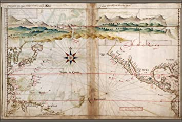 Amazon.com : 20x30 Poster; Map Of North Pacific Ocean 1630 With ...