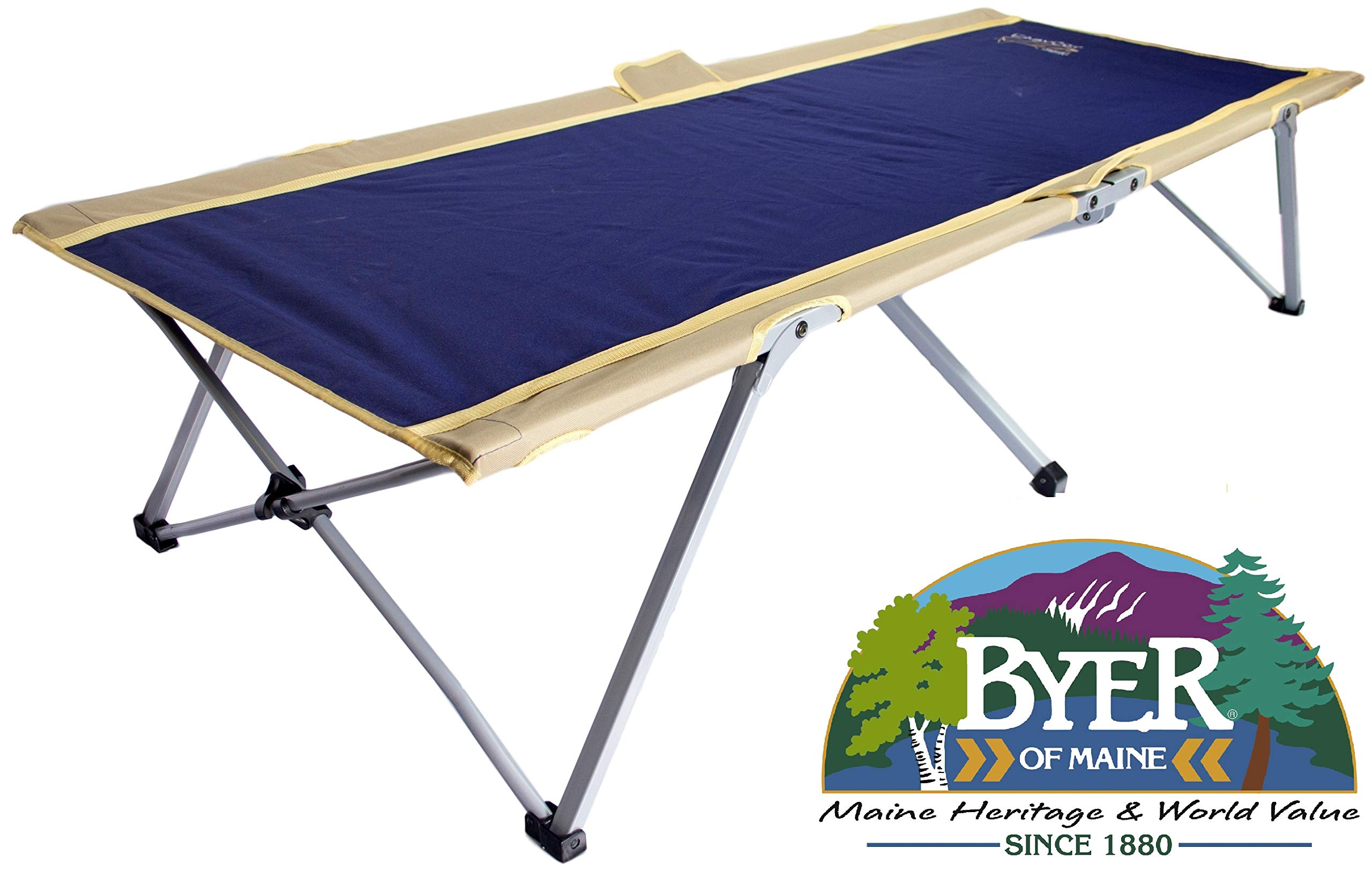 BYER OF MAINE Easy Cot, Extra Large, 78''L X 31''W X 18'', Holds 330lbs, Easy to assemble, Ideal for guest bed, Camp Cots for Adults, Folding Cot, Cot for Sleeping, Comes with Travel Bag, Single by BYER OF MAINE