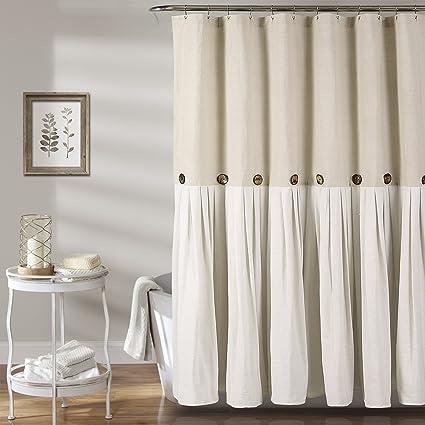 Amazoncom Lush Decor Button Shower Curtain 72 X 72 Linen Home