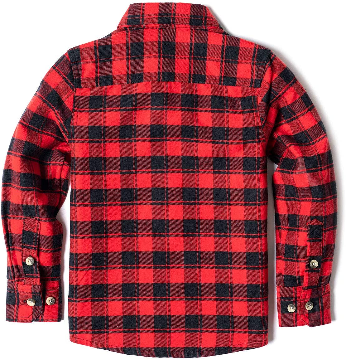 CQR Kids /& Boys and Girls Flannel Long Sleeved Button-Up Plaid All Cotton Brushed Shirt
