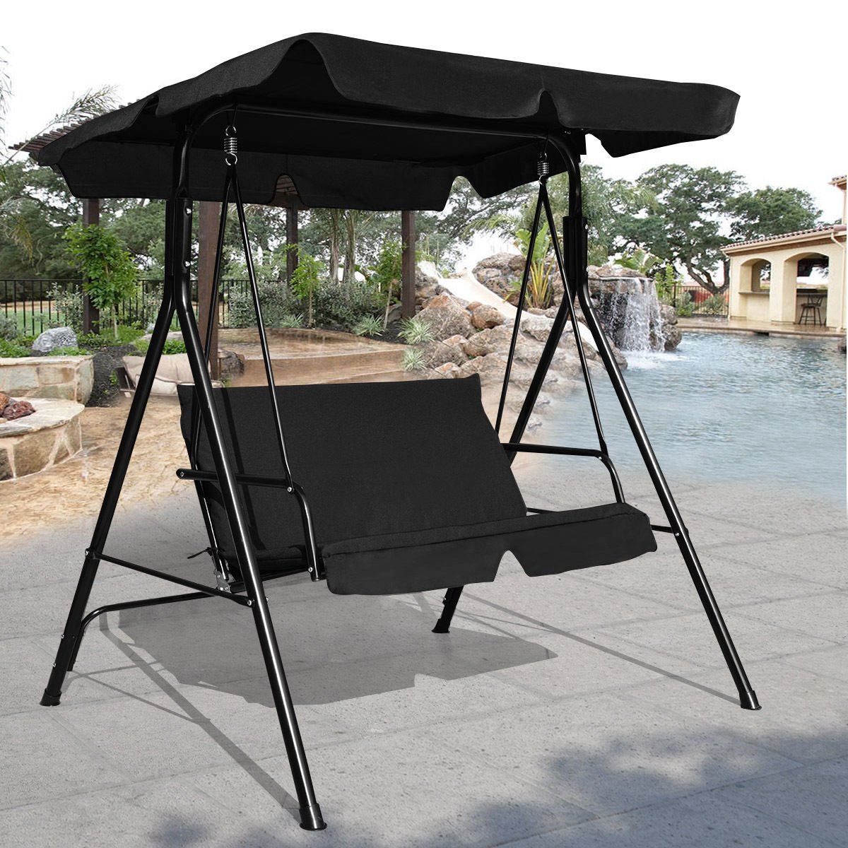patcharaporn Loveseat Patio Canopy Swing Glider Hammock Cushioned Steel Frame Outdoor Black
