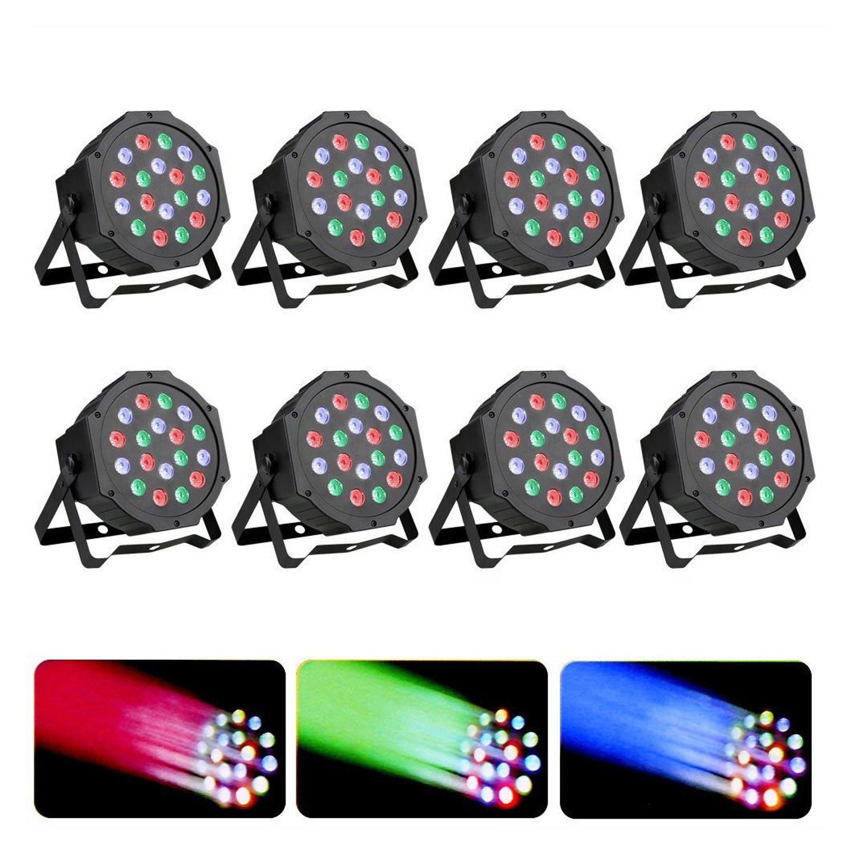 Z-bond 8PCS Par LED Stage Light 18 X 3W LED DJ Par Lights 54W RGB PAR64 DMX512 For Stage Party Show (8PCS)