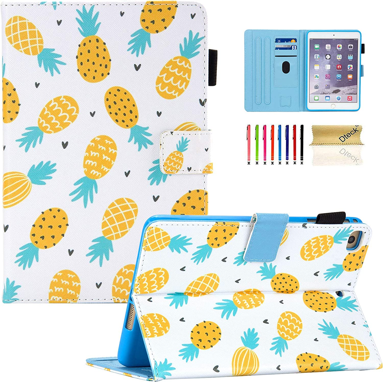 iPad Mini Case, iPad Mini 2/3/4/5 Case, Dteck Slim Fit Premium PU Leather Folio Stand Smart Protective Cover with Auto Wake/Sleep for Apple iPad Mini 2/ Mini 3/ Mini 4/ Mini 5, Gold Pineapples