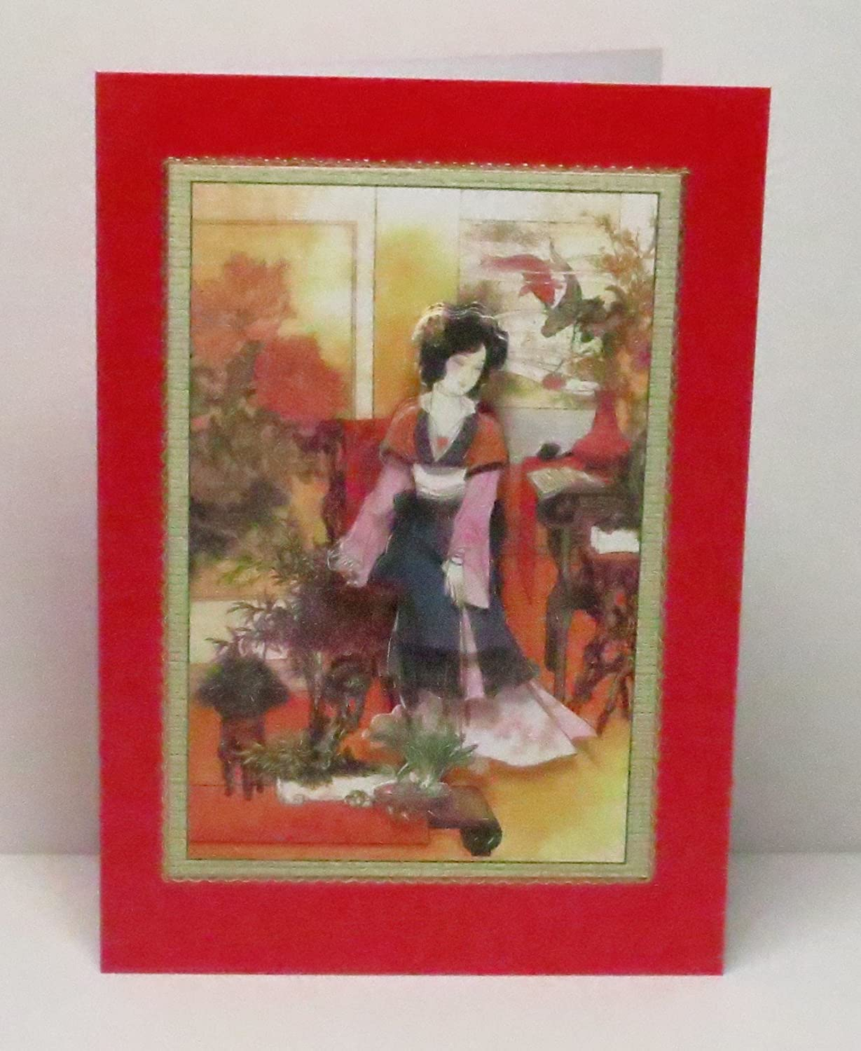 Handmade 3D Oriental Lady with Plants Blank Greeting Card with Glittered Highlights /& Gold Border Limited Edition on Red Pearlescent Base For Any Occasion