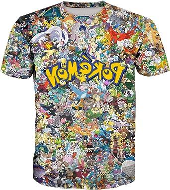 Camiseta 3D para hombre, diseño de Anime Dragon Ball Pokémon Pokémon: Amazon.es: Ropa y accesorios