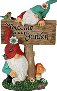 """Exhart Gnome Statue Garden Welcome Sign – Cute, """"Welcome to Our Garden"""" Gnome Decor for Lawn – Weather Resistant Resin Gnome Garden Statue & Welcome Garden Decor, 7.5"""" L x 4.5"""" W x 11"""" H"""