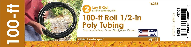 Mister Landscaper MLT-72 Drip Irrigation Poly Tubing 1//2 100 Roll