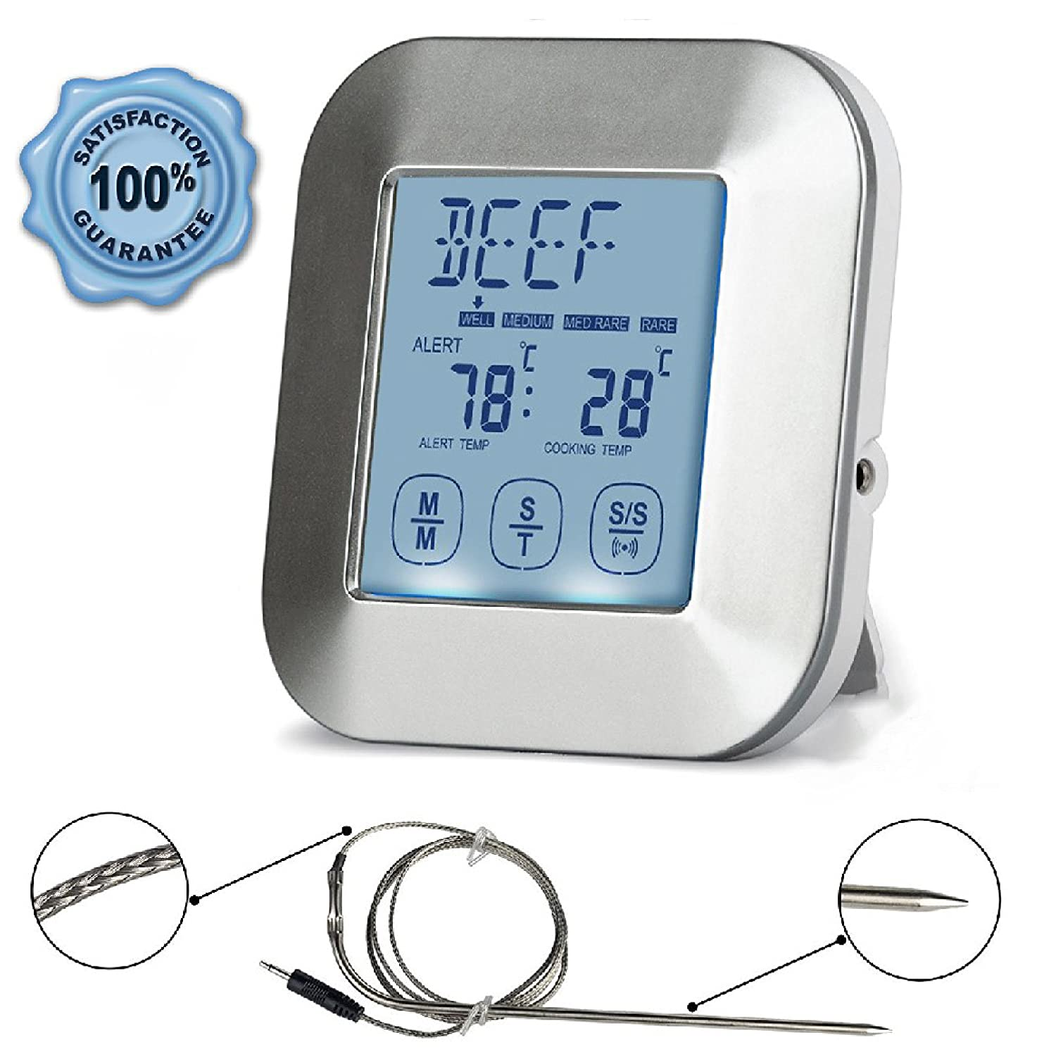 Digital Cooking Thermometer; Food Grade Stainless Steel Single Probe; Touchscreen, Timer and Magnet; Best for Meat, Poultry or Fish; Roast, Smoke or Bake; Barbecue Pit, Steak Grill or Kitchen Oven