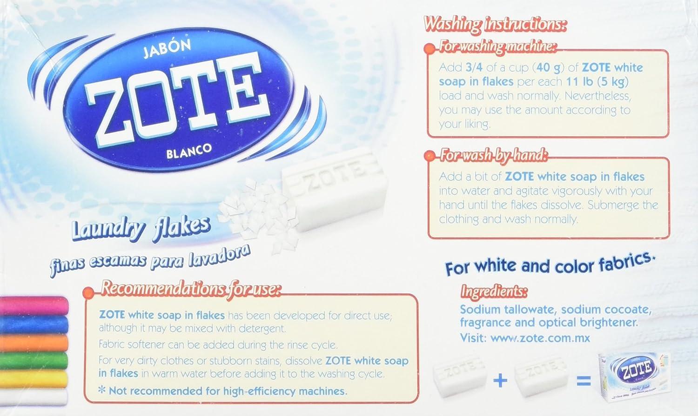 Jabon Zote Blanco Laundry Flakes by Zote: Amazon.es: Salud y ...