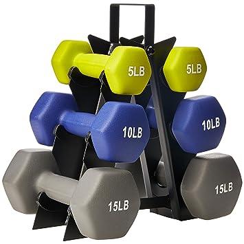 AmazonBasics - Juego de mancuernas con soporte, 21,77 kg: Amazon.es: Deportes y aire libre