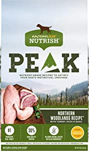 Rachael Ray Nutrish PEAK Natural Dry Dog Food, Northern Woodlands Recipe with Turkey, Duck & Quail Recipe, 12 Pounds, Grain Free (Packaging May Vary)