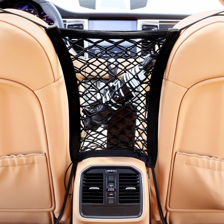 AUTOWN Car Seat Net Organizer Auto Backseat Barrier Net Storage Universal Car Armrests Seats Storage Net Stretchy Fine Mesh Net Disturb Stopper from Children and Pets