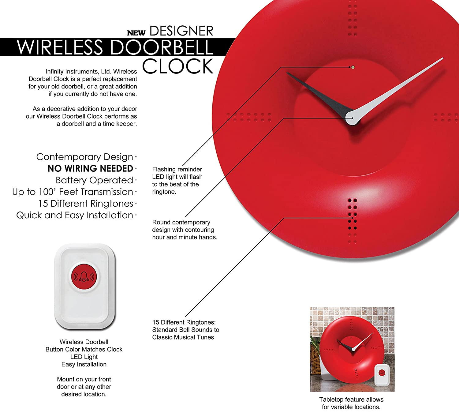 Tabletop Clock With  Remote Control Chime, Orange: Home & Kitchen