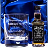 Personalised/Engraved Bubble Based Glass & Jack Daniels Gift Set in Silk Box For Dad/Birthday/Wedding/Best Man