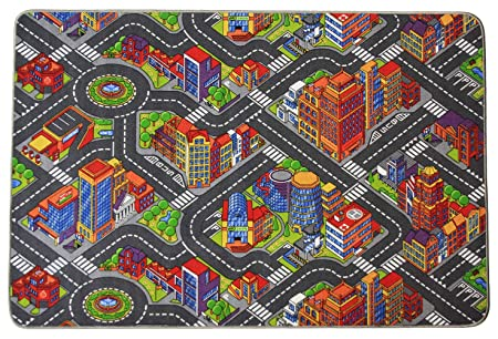 Kids Play Rug - Tested for harmful substances | Dirt-resistant top Car Map Rug on