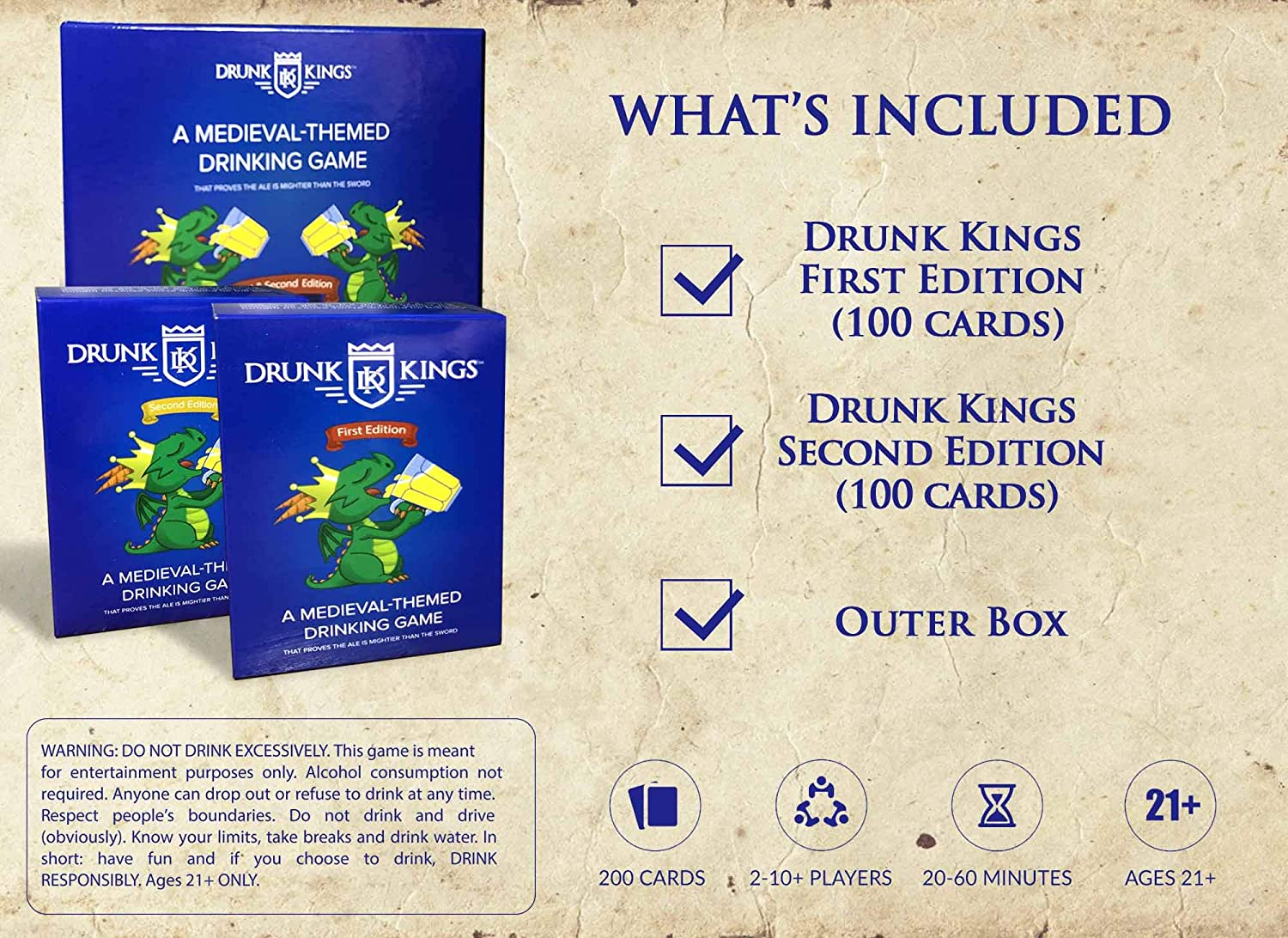 Fantasy Themed Cards Drunk Kings Gift for Man Cave//Bar Bachelor//Bachelorette Drinking Games for Adults Party Fun Party Board Games for 21st Birthday