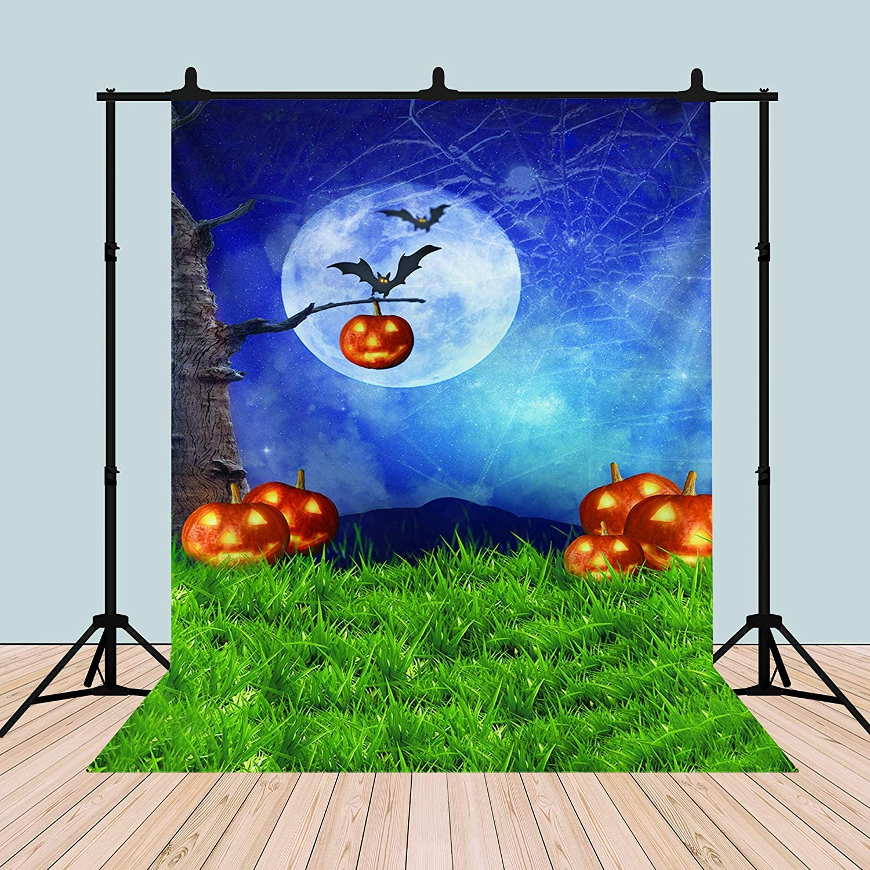 CdHBH 6x8ft Halloween Theme Autumn Pumpkin Green Grass Studio Photo Background Festival Venue Party Layout Wallpaper Home Decoration Vinyl Material Studio Background Cloth