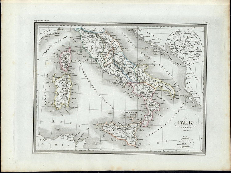 Ancient Italy Sicily Sardinia Corsica 1846 Uncommon Antique Color