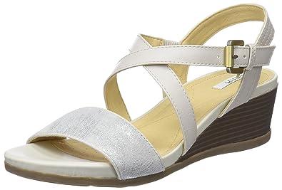 40760154fa798 Geox D Marykarmen A, Sandales Plateforme Femme, Blanc Cassé (Off White),