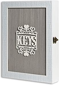 Wall Mount Key Holder for Wall Decorative, Wooden Key Cabinet Wall Mount, Key Rack for Wall, Key Hook Decorative for Wall, Vintage Key Box Wall Mount with 6-Hooks, Key Hanger Vintage Decor