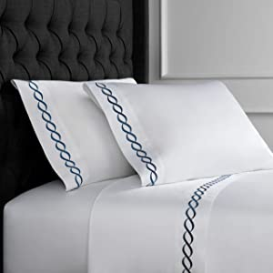 Melange Home Sateen Cotton Rope Embroidery Stripe Sheet Set, Queen, Navy on White