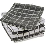 DII 100% Cotton, Machine Washable, Ultra Absorbant, Basic Everyday 12 x 12 Terry Kitchen Dish Cloths, Windowpane Design, Set of 6- Gray