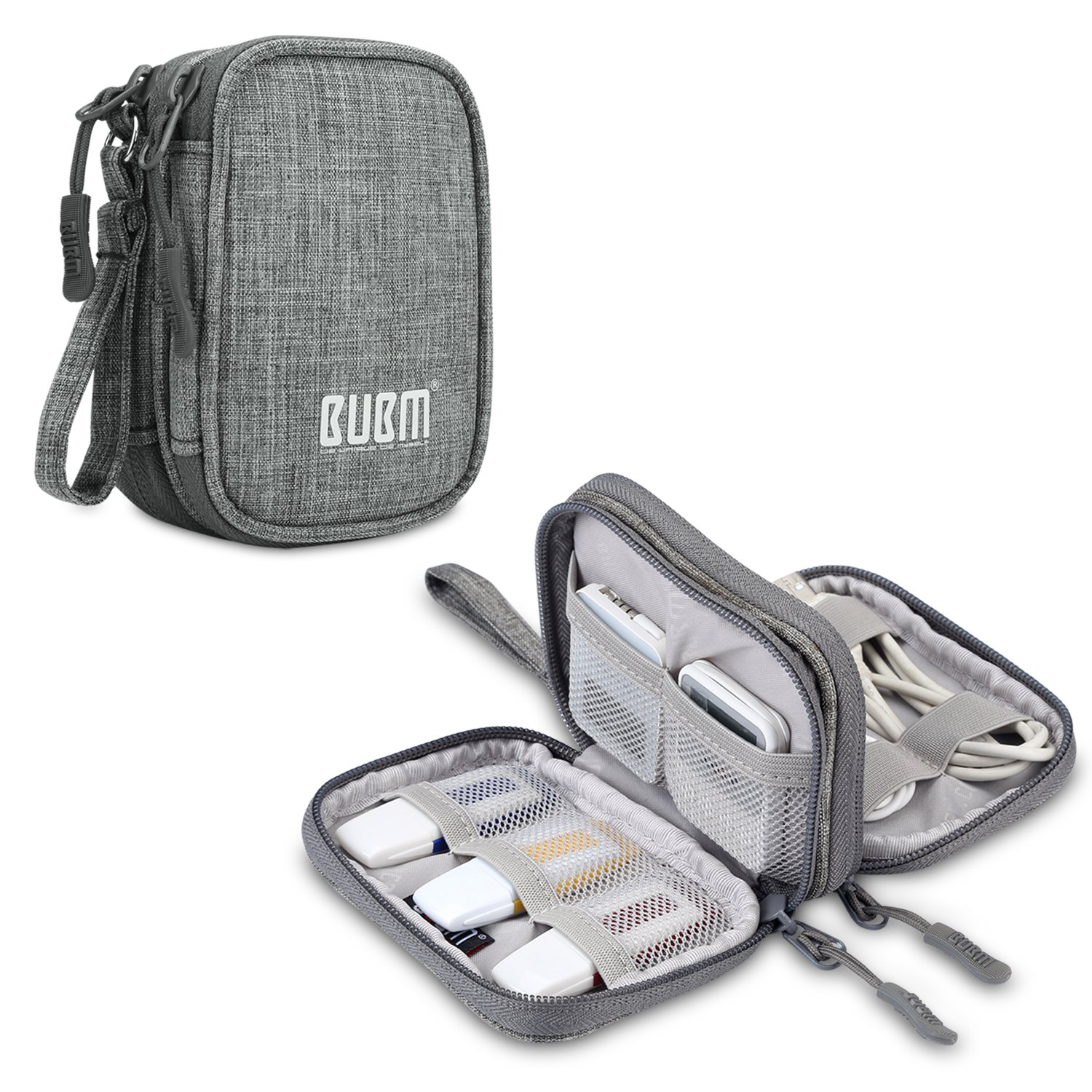 BUBM USB Flash Drive Case (8 -capacity), Carrying Bag for USB Flash Drives, SD Cards, USB Cables and Other Small Accessories, Gray