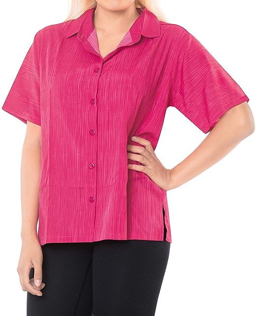 LA LEELA botón de la Blusa de la Playa de Las Mujeres Abajo Informal Camisa Hawaiana