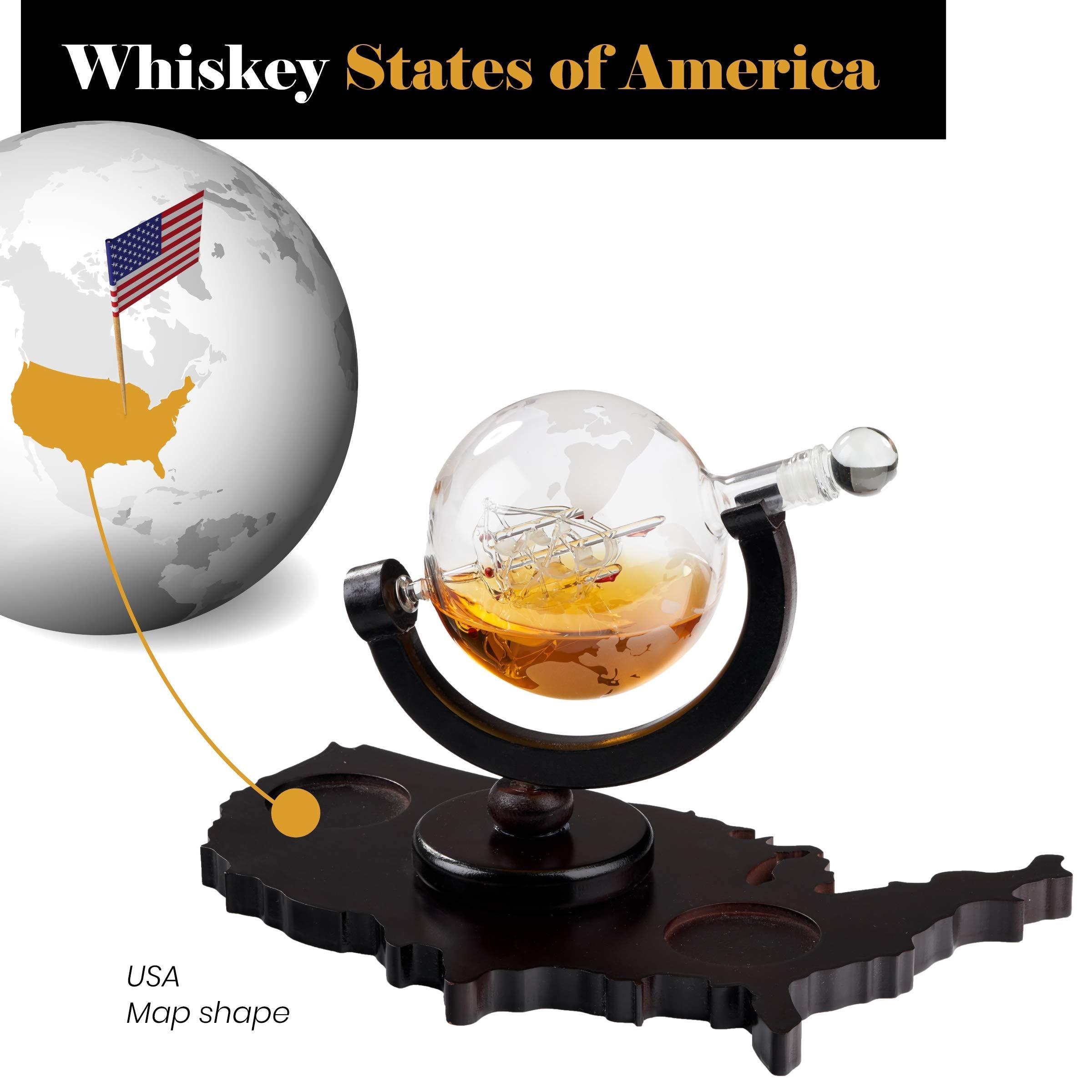 Whiskey Decanter Set World Etched Globe Decanter Airtight Stopper Antique Ship Liquor Dispenser Perfect Bar Gift Bourbon Scotch Vodka Liquor USA Map Tray 850 ml by Bezrat (Image #6)