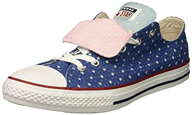 748594e123a9 Converse Girls  Double Tongue Star Perforated Low Top Sneaker