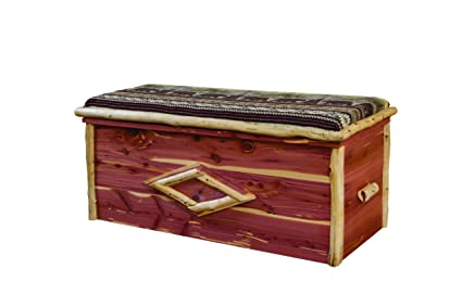 Merveilleux Rustic Red Cedar Log CUSHION TOP BLANKET CHEST