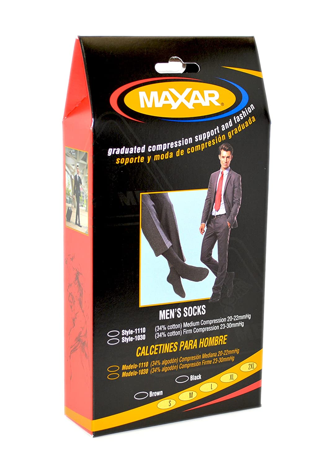 Amazon.com: MAXAR Mens Trouser Support Socks (20-22 mmHg) Black, Medium: Health & Personal Care