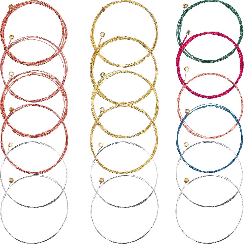3 Juegos de Cuerdas de Guitarra Acústica Reemplazo de Cuerda de Acero para Guitarra, 1 Juego Latón 1 Juego Cobre y 1 Juego Multicolor