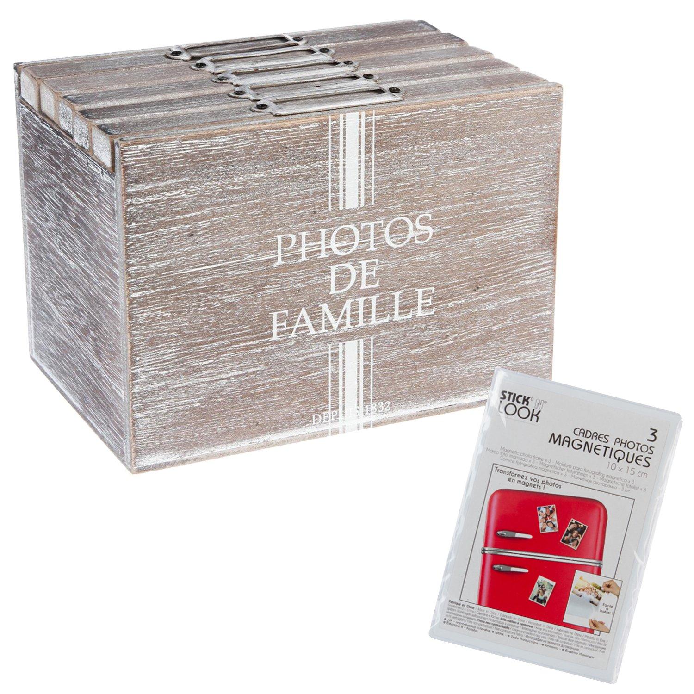 Silley recinto de almacenaje 120Cámara + 3Marcos de Fotos magnéticos–Modelo Campaña–Álbum fotográfico Formato 10x 15cm–Color Madera Blanqueado