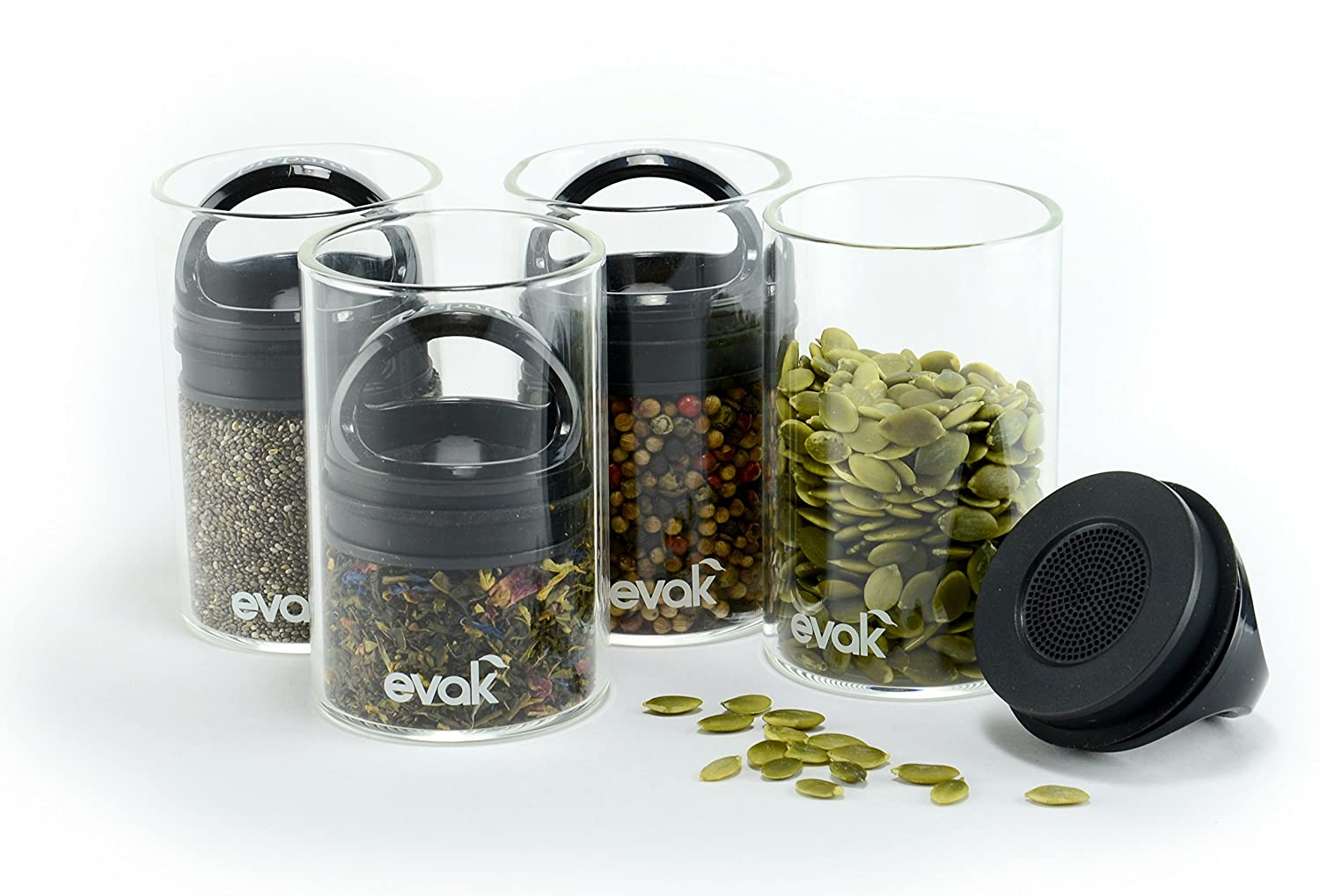 SET OF 4 EVAK MINI- Best PREMIUM Airtight Storage Container for Coffee Beans, Tea and Dry Goods - EVAK - Innovation that Works by Prepara, Glass and Stainless, Compact Handle, Mini (Black Gloss)