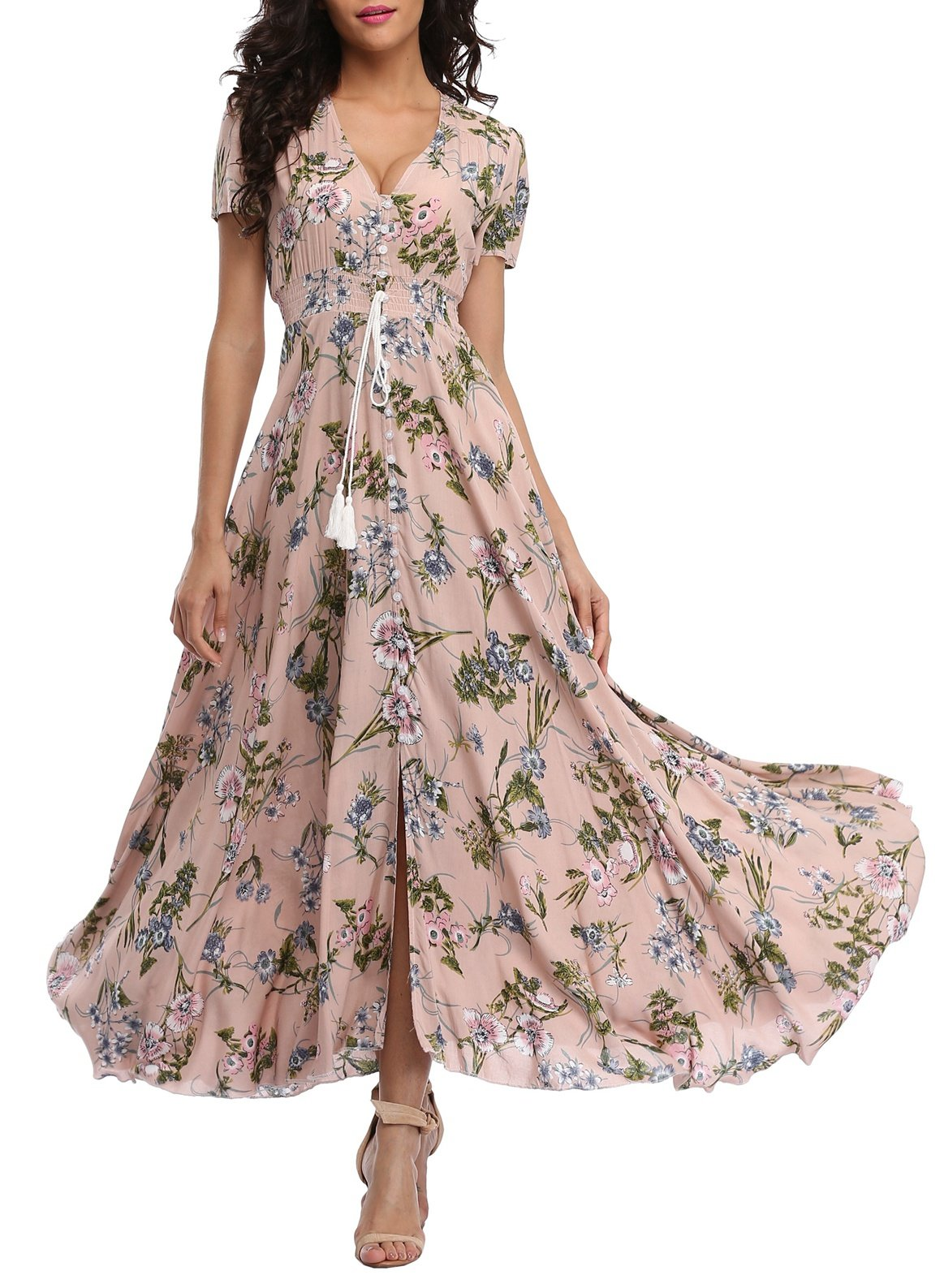 VintageClothing Women's Floral Print Maxi Dresses Boho Button Up Split Beach Party Dress,Pale Dogwood,XX-Large