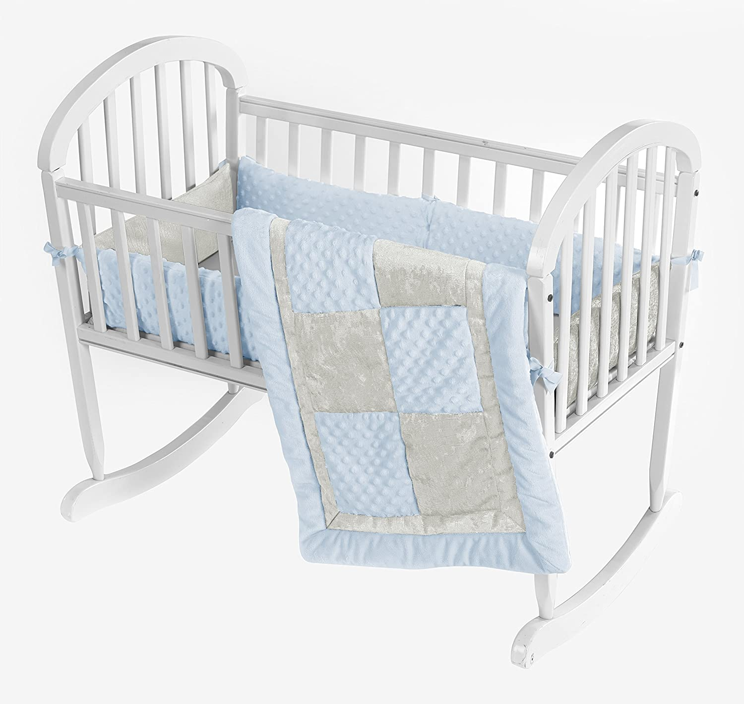 Baby Doll Croco Minky Cradle Bedding Set, Blue/Ivory by BabyDoll Bedding   B00KBGTQZS