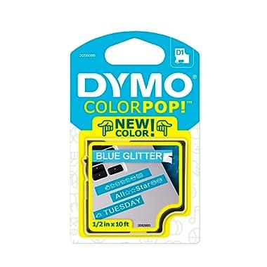 DYMO COLORPOP Authentic Label Maker Tape, 1/2  W x 10' L, White Print on Blue Glitter, D1 Standard