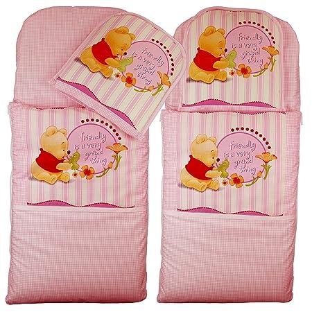 Saco + cojín para cochecito Moisés Cuna cochecito funda Saco de dormir Baby Saco (Winnie the Pooh de color rosa): Amazon.es: Bebé