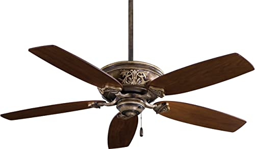 Minka-Aire F659-PI Downrod Mount, 5 White Cream Blades Ceiling fan, Patina Iron