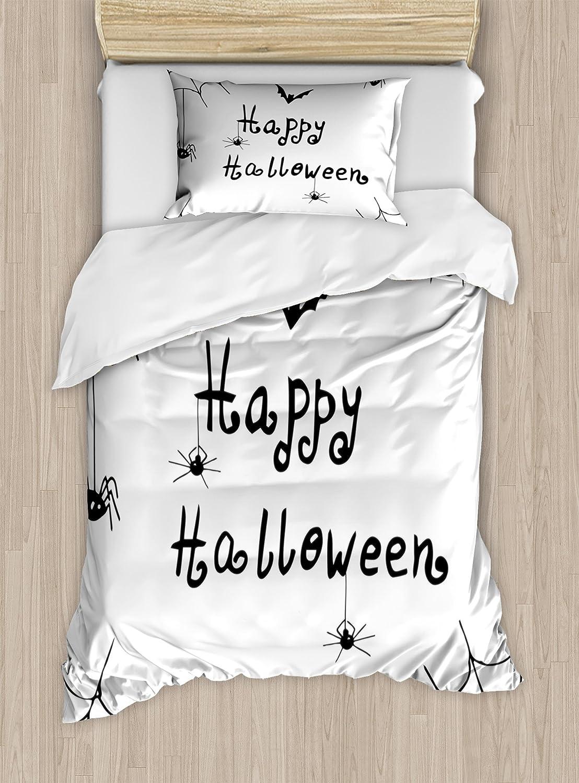 Ambesonne Spider Web Duvet Cover Set, Happy Halloween Celebration Monochrome Hand Drawn Style Creepy Doodle Artwork, Decorative 2 Piece Bedding Set with 1 Pillow Sham, Twin Size, Black White