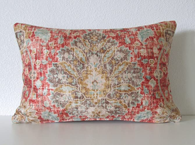 Amazon Ethan Allen Chakra Cinnabar Red Brown Blue Distressed Inspiration Ethan Allen Decorative Pillows