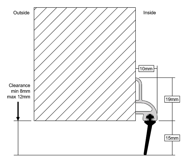 /effetto oro Stormguard 03SR0210838G 838/mm Bds gomma sul fondo della porta guarnizione/