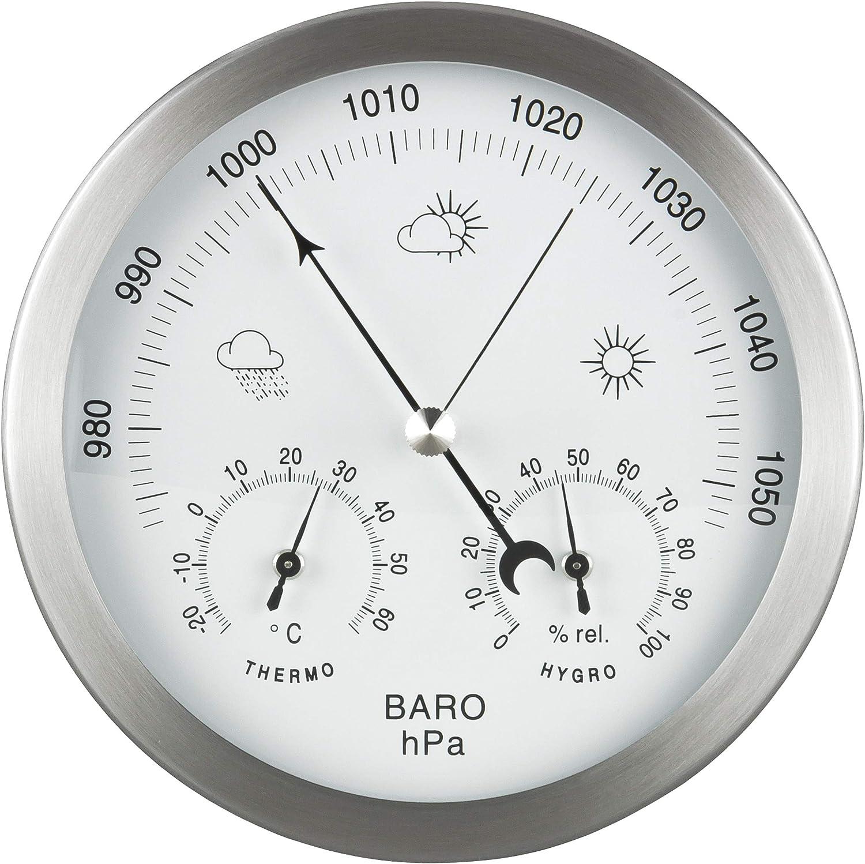 GardenMate Estación Meteorológica Analógica 3 en 1   Marco de Acero Inoxidable Ø 14 cm   Barómetro Termómetro Higrómetro