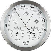 GardenMate Station météo analogique 3 en 1 en inox Ø14 cm - Baromètre, thermomètre, hygromètre