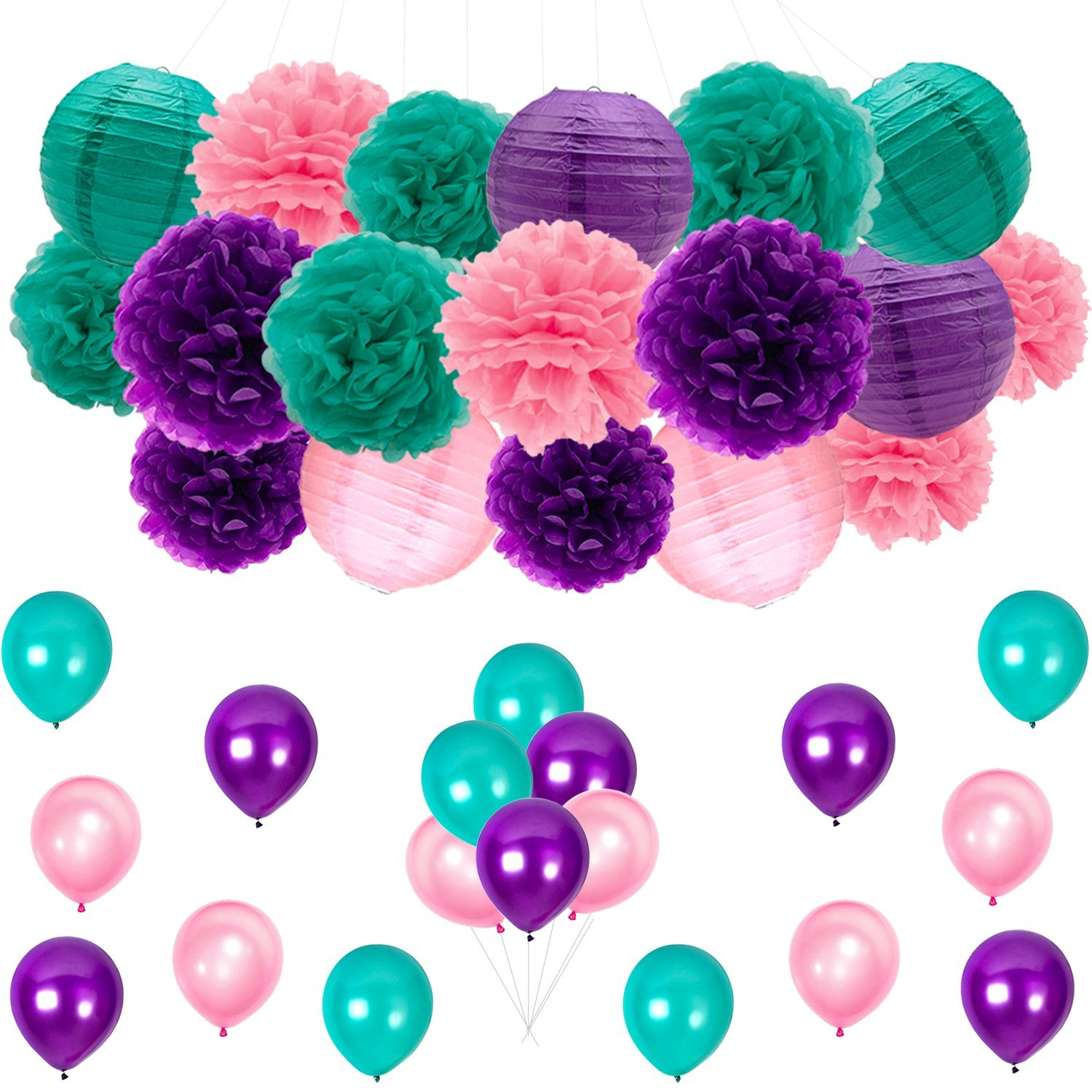 Mermaid Party Decorations Decors/Under the Sea Party Supplies Teal Pink Mermaid Purple Pom Poms Lanterns Balloons for Mermaid Birthday Party Supplies Baby Shower Decorations Frozen Party Supplies